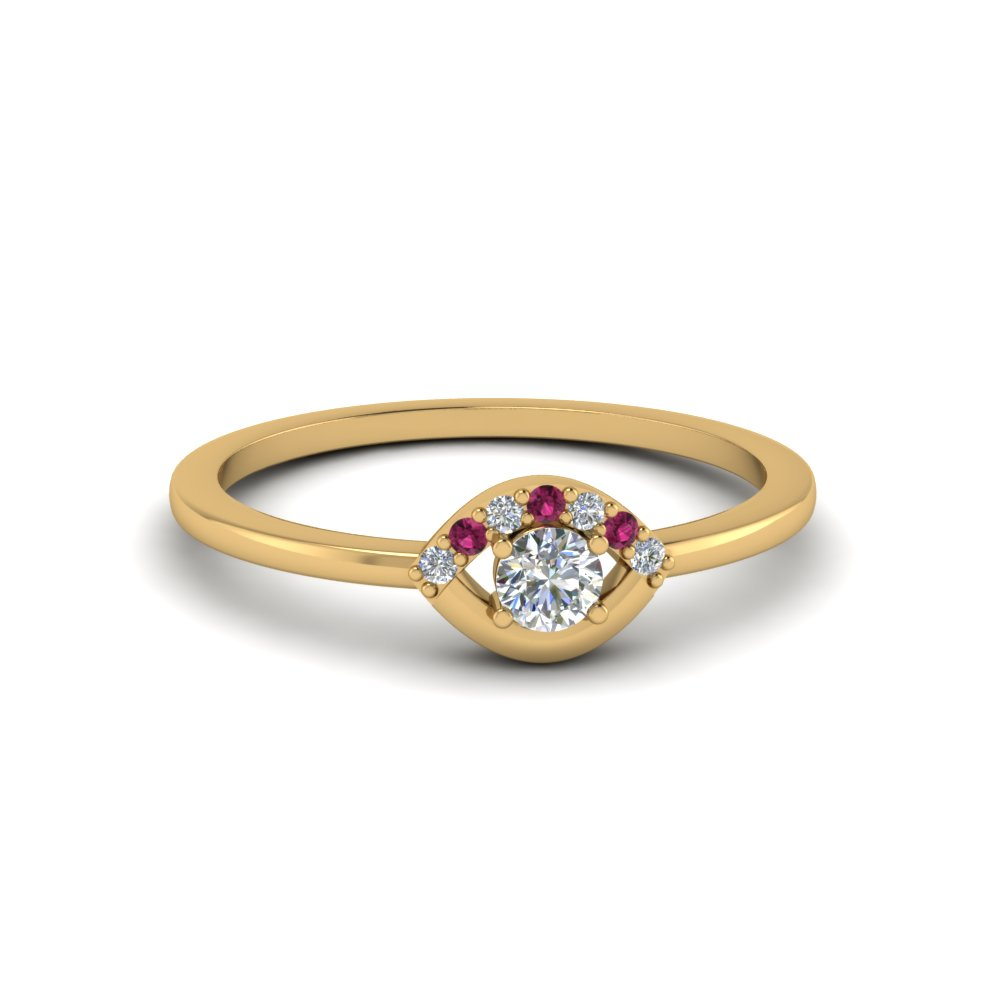 small diamond wedding anniversary ring for her with pink sapphire in FD8004RORGSADRPI NL YG