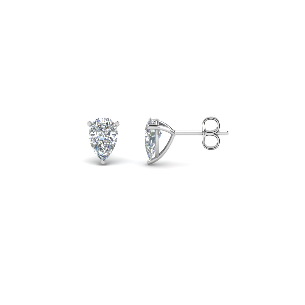prong set pear diamond stud earrings in 14K white gold FDEAR3PE NL WG