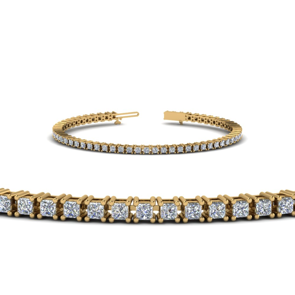prong set princess diamond tennis bracelet in 14K yellow gold FDBR00004PRANGLE2 NL YG