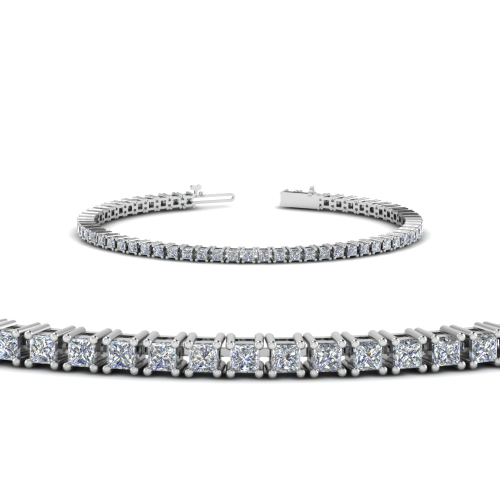 4 carat princess cut diamond tennis bracelet in FDBR00004PR NL WG
