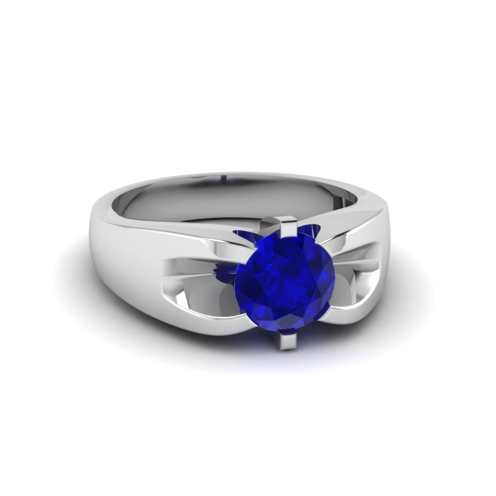 Prong Set Round Blue Sapphire Mens Wedding Rings In 14K White Gold