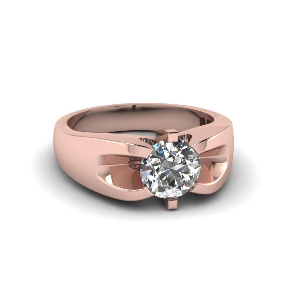 1 Carat Diamond Mens Wedding Ring In 14K Rose Gold