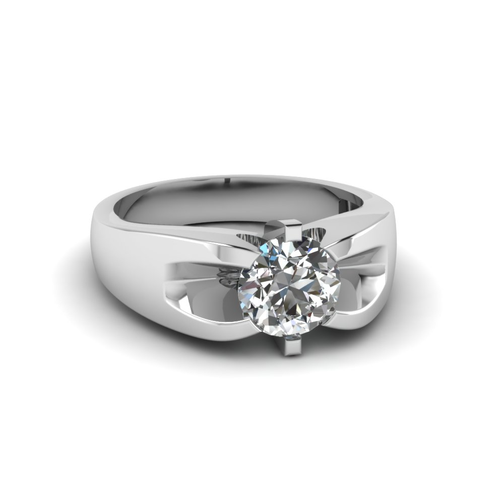 mens wedding rings with white diamond in 14k white gold