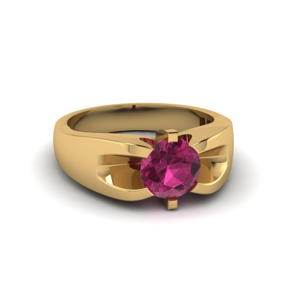Pink Sapphire Solitaire Mens Wedding Ring
