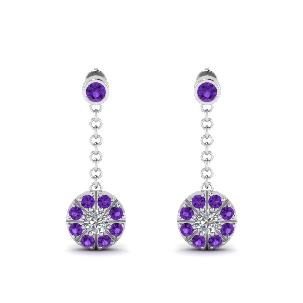 purple topaz halo drop dangle diamond earring in FDEAR67096GVITOANGLE1 NL WG