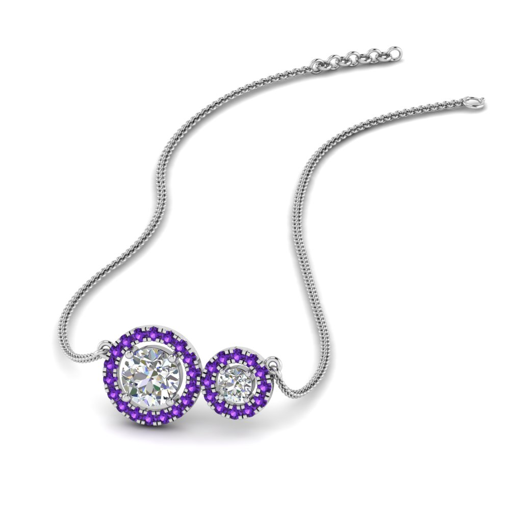 Dual Halo Purple Topaz Pendant