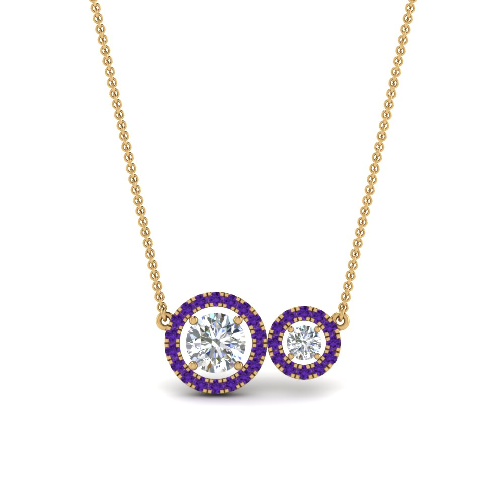 Dual Halo Diamond Pendant Necklaces