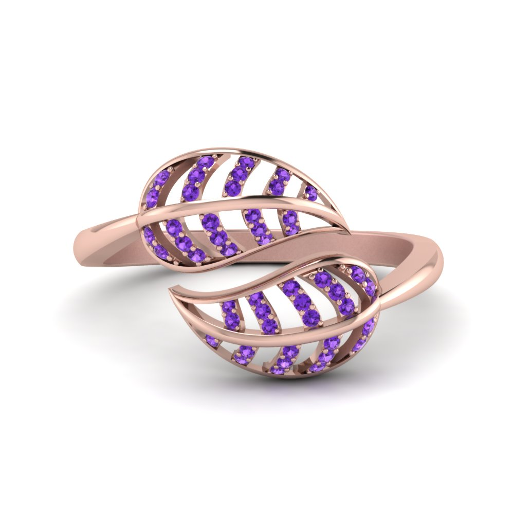 purple topaz leaf bypass ring in 14K rose gold FD8621GVITO NL RG