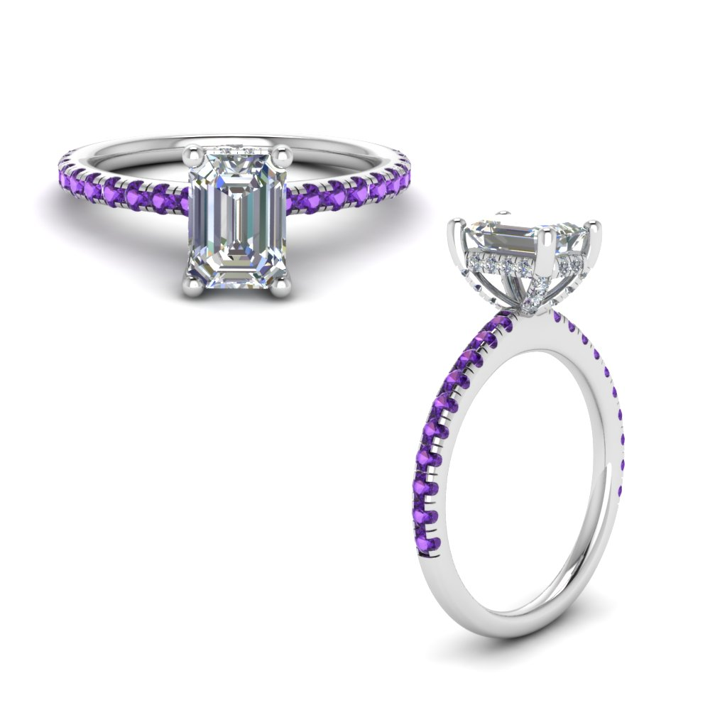 purple topaz prong emerald cut diamond petite engagement ring in FD8523EMRGVITOANGLE1 NL WG GS