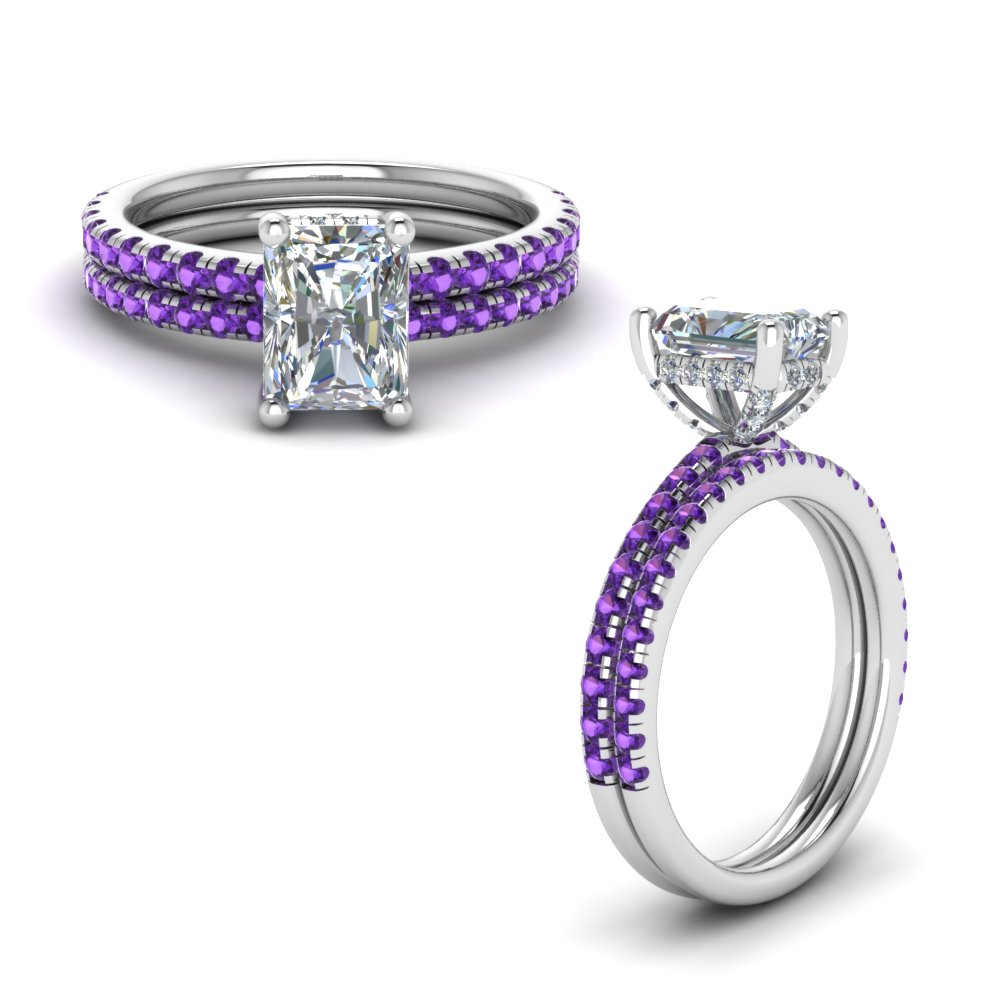 purple topaz prong radiant cut diamond petite bridal set in FD8523RAGVITOANGLE1 NL WG GS