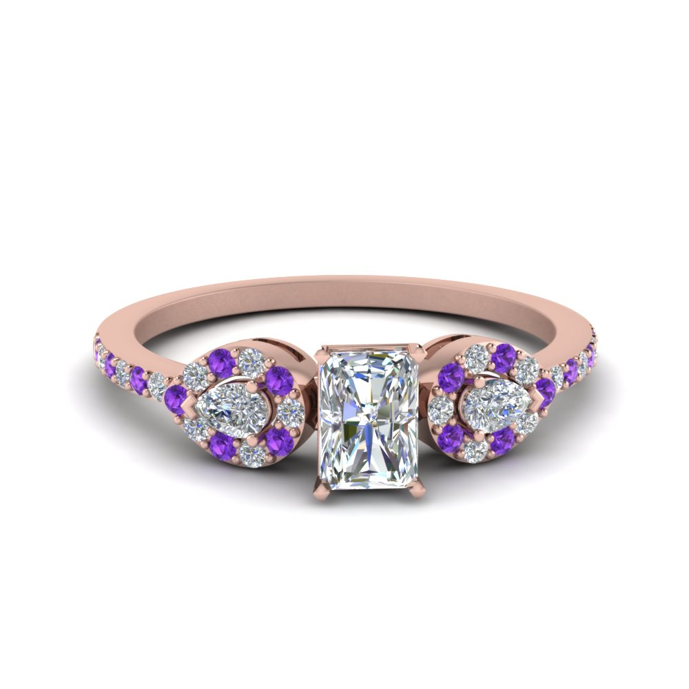 Radiant 3 Stone Diamond Halo Engagement Ring With Purple Topaz In 18K Rose Gold