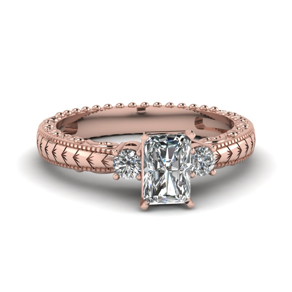 2 Carat Engagement Ring With  White Diamond In 14k Rose Gold