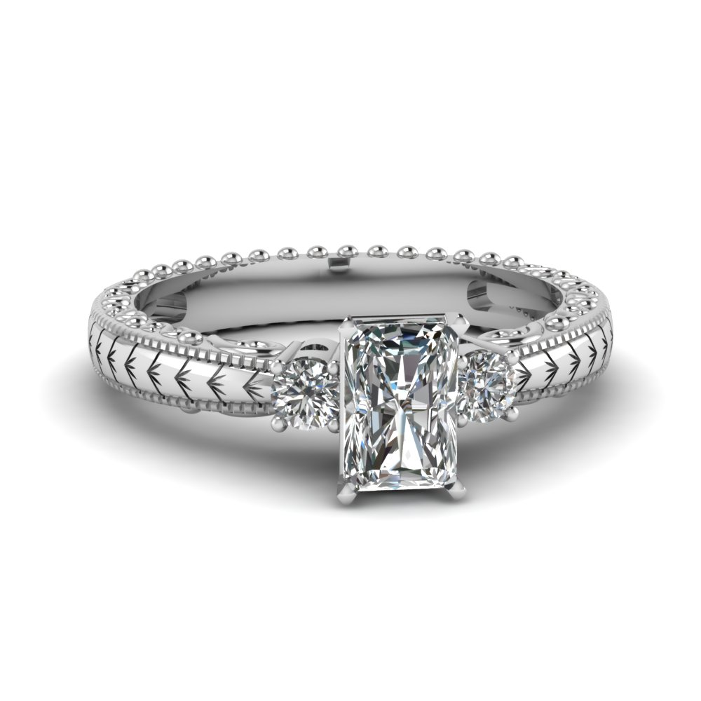 radiant and round 3 stone half carat diamond engagement ring in 14K white gold FDENR3135RAR NL WG