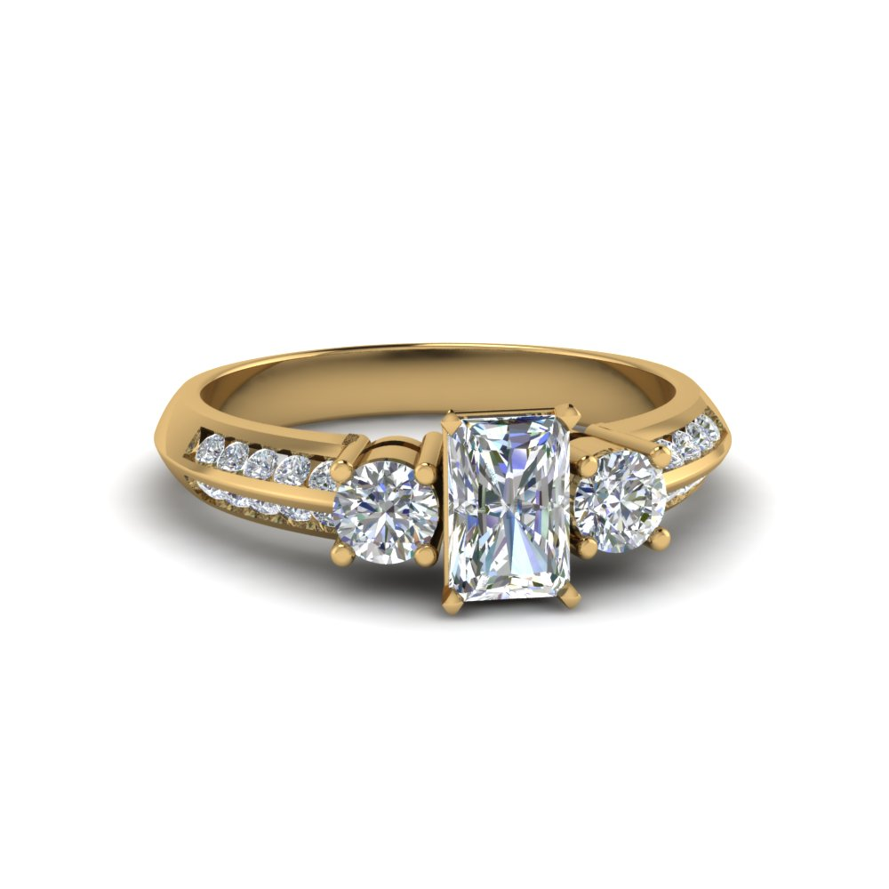 radiant cut 3 stone channel accent diamond engagement ring in FD8313RAR NL YG