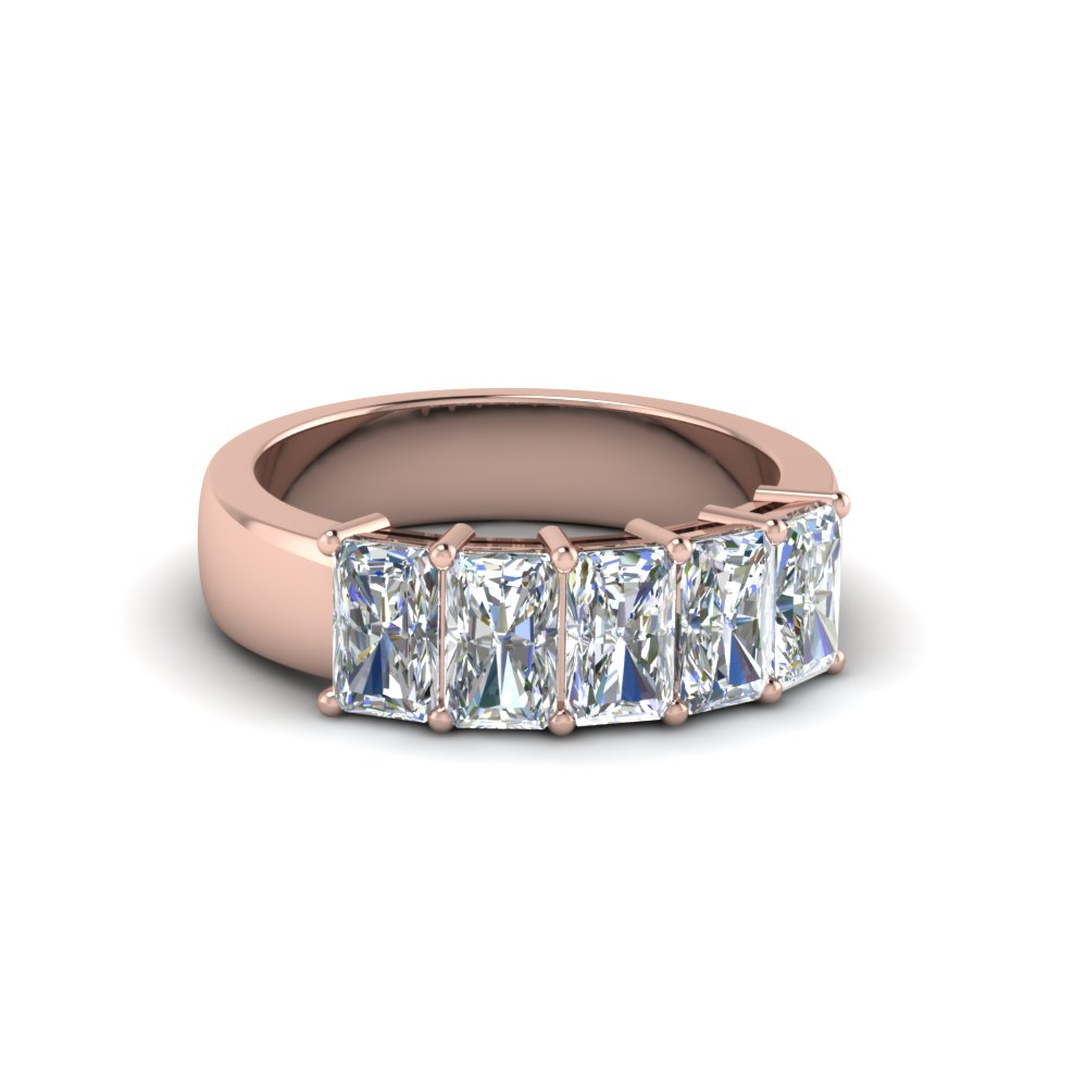 radiant cut 5 stone anniversary band 1 carat in 14K rose gold FD8008RAB 1CTNL RG