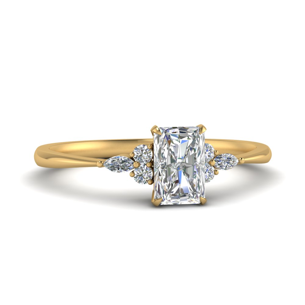 Radiant Cut Diamond Side Stone Rings