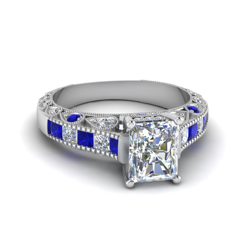 radiant cut antique channel set diamond shank engagement ring with blue sapphire in 14K white gold FDENR6839RARGSABL NL WG