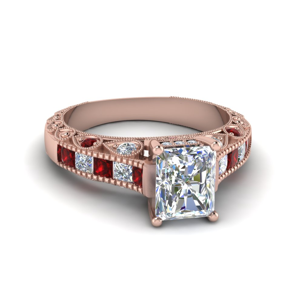 radiant cut antique channel set diamond shank engagement ring with ruby in 14K rose gold FDENR6839RARGRUDR NL RG