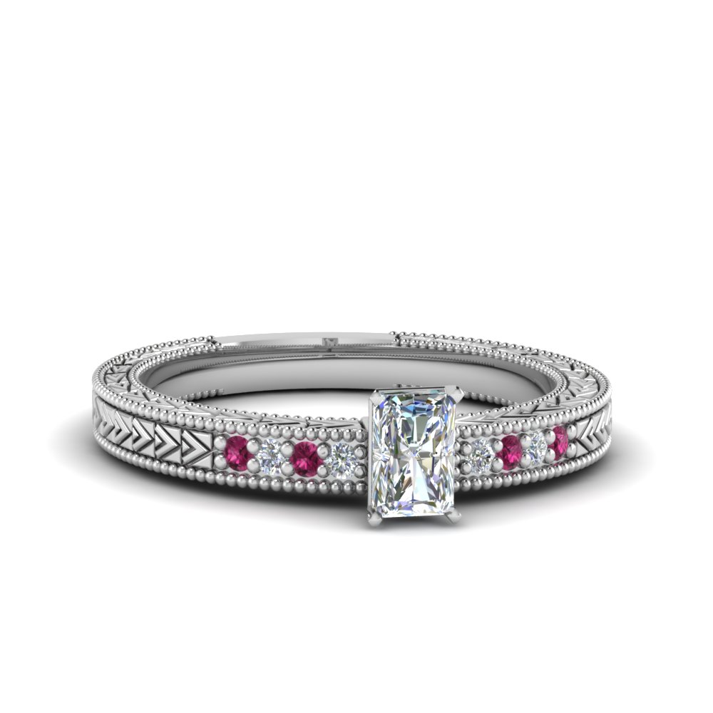 radiant cut antique design pave moissanite engagement ring with pink sapphire in FDENS3033RARGSADRPI NL WG