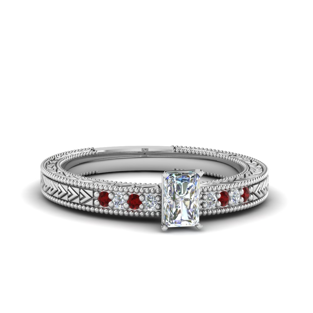 Moissanite Radiant Cut Milgrain Rings