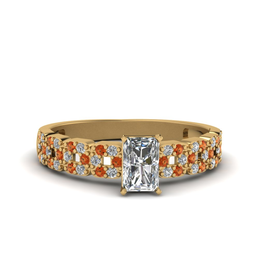 radiant cut antique diamond engagement ring for women with orange sapphire in 14K yellow gold FDENS3027RARGSAOR NL YG