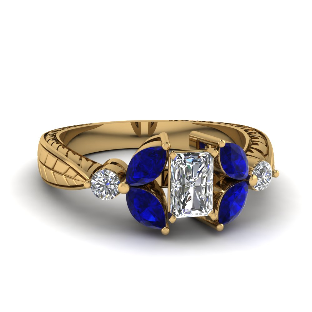 Radiant Cut Ring With Sapphire