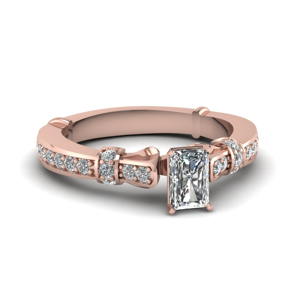 radiant cut antique petite diamond engagement ring in 18K rose gold FDENS3318RAR NL RG