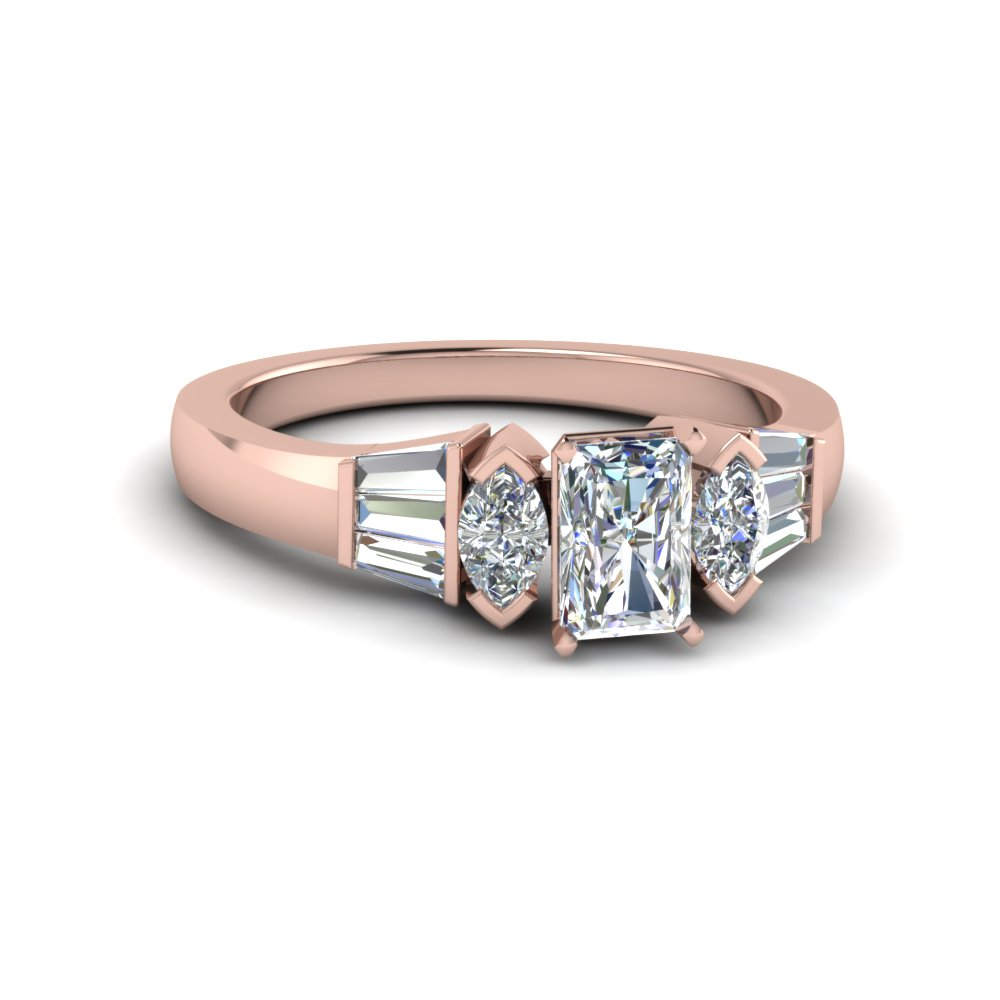 18K Rose Gold Radiant Diamond Rings
