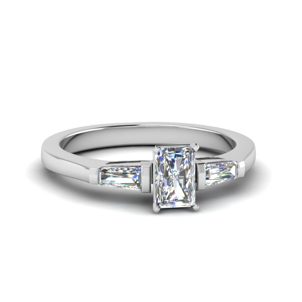 9310a320245d94 Radiant Cut 3 Stone Engagement Ring With Baguette In 14K White Gold ...