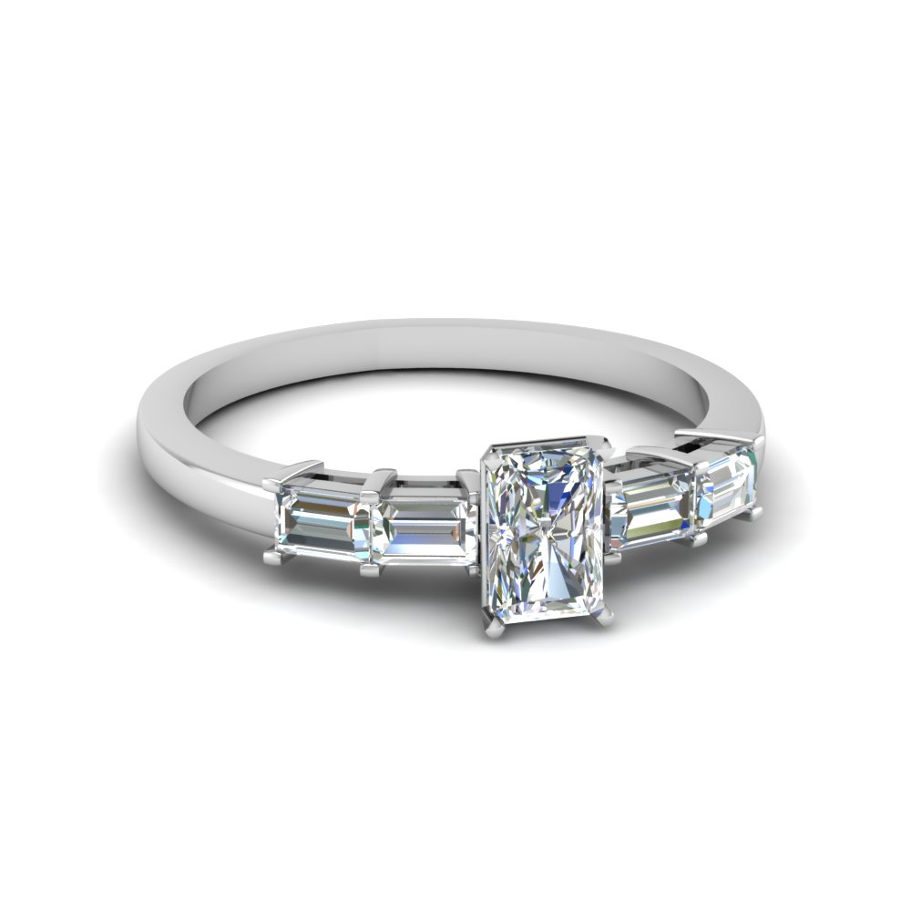 radiant cut basket prong baguette diamond engagement ring in FDENS3076RAR NL WG