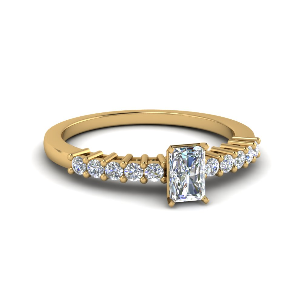 radiant cut basket prong diamond small engagement ring in 14K yellow gold FDENS3104RAR NL YG