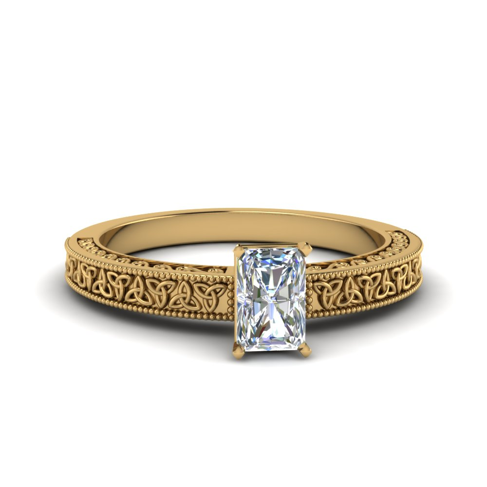 celtic engraved radiant solitaire engagement ring in FD8544RAR NL YG