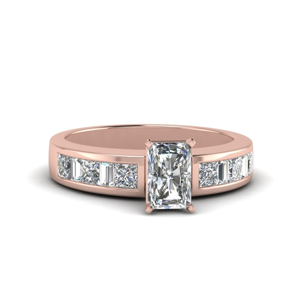 radiant cut channel baguette and princess accent diamond engagement ring in FDENS350RAR NL RG