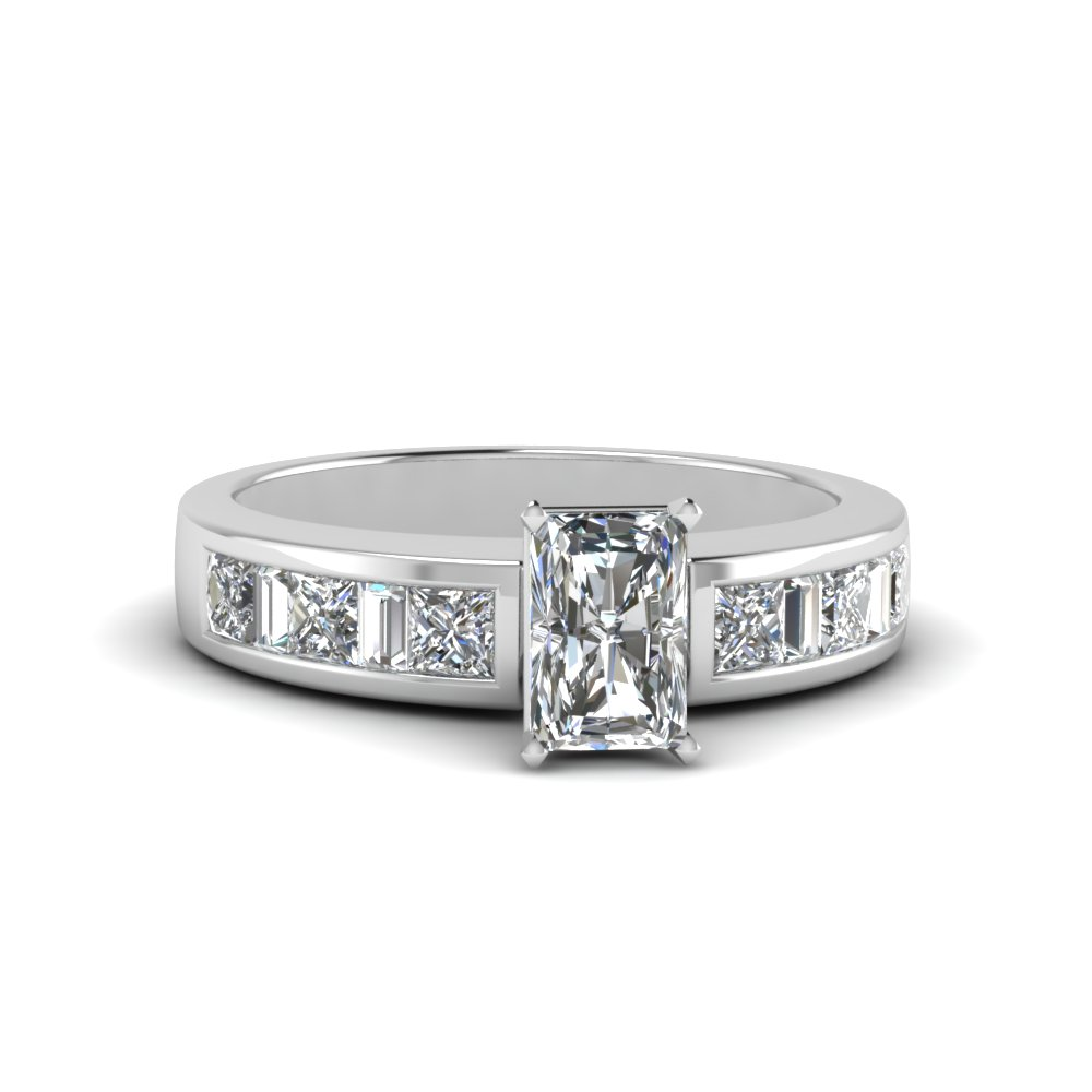 radiant cut channel baguette and princess accent diamond engagement ring in FDENS350RAR NL WG