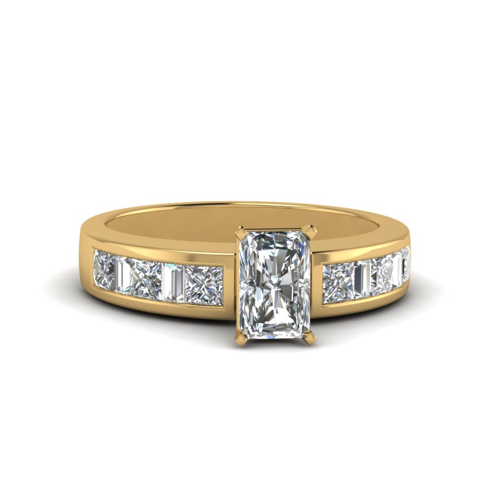 radiant cut channel baguette and princess accent diamond engagement ring in FDENS350RAR NL YG