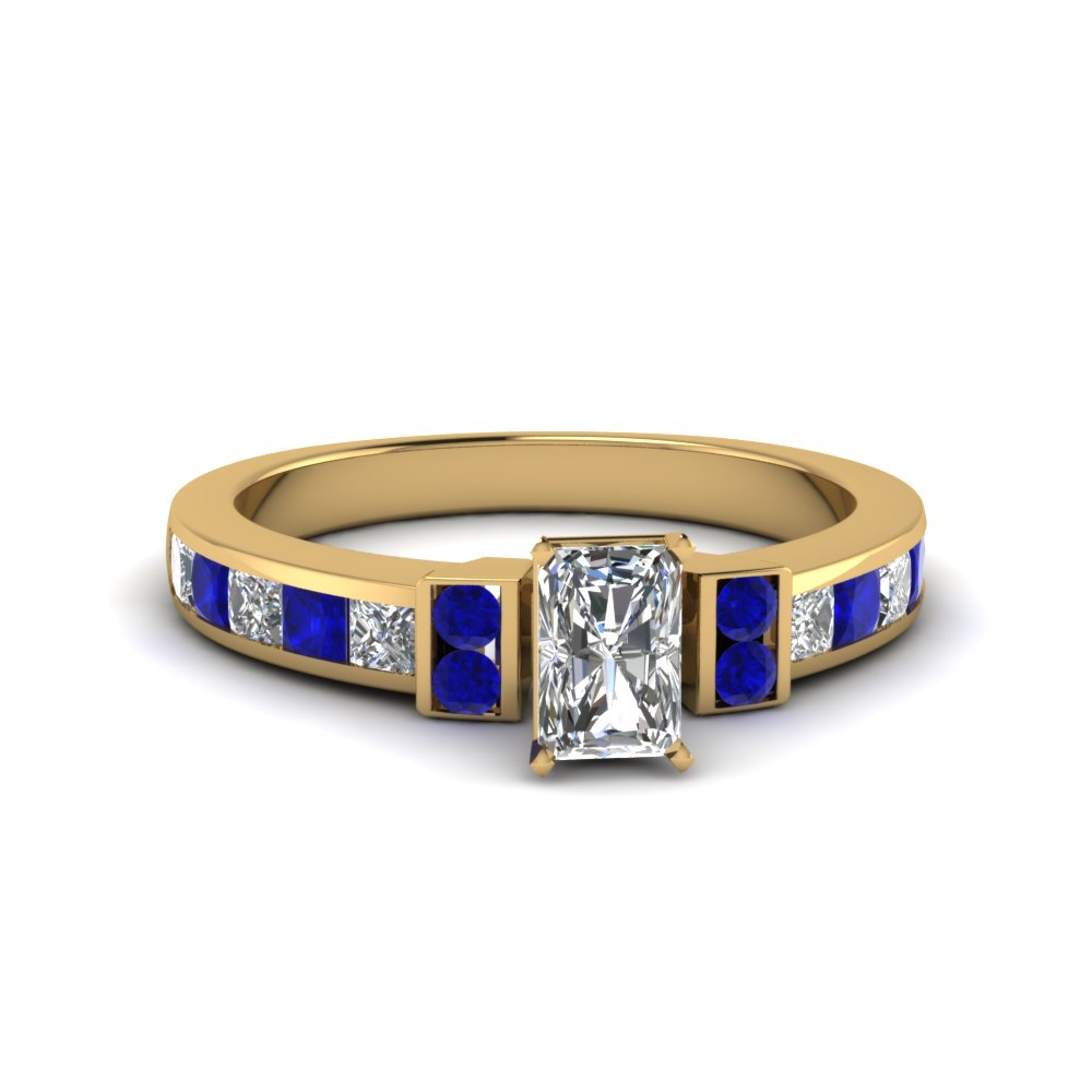 radiant cut channel bar set diamond engagement ring for women with blue sapphire in FDENR989RARGSABL NL YG