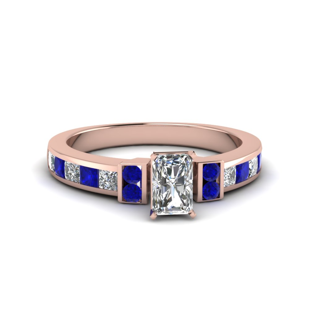 radiant cut channel bar set diamond engagement ring for women with blue sapphire in FDENR989RARGSABL NL RG