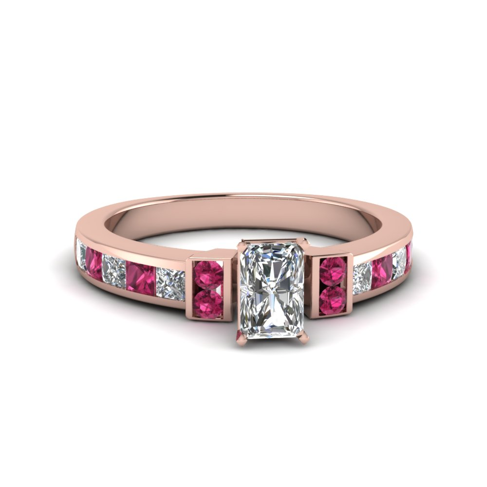 radiant cut channel bar set diamond engagement ring for women with pink sapphire in FDENR989RARGSADRPI NL RG