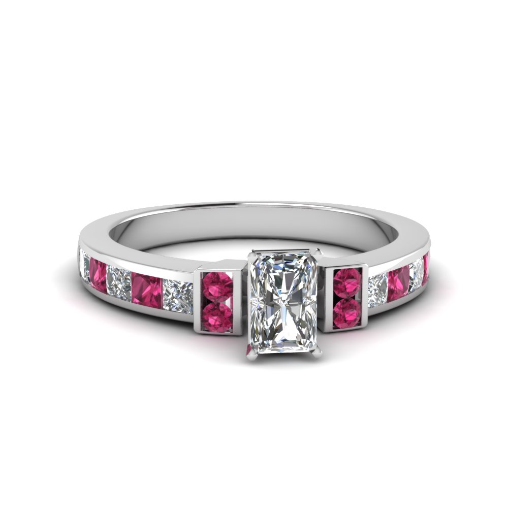 radiant cut channel bar set diamond engagement ring for women with pink sapphire in FDENR989RARGSADRPI NL WG