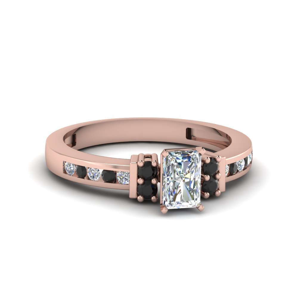 Rose Gold Black Diamond Petite Wedding Rings