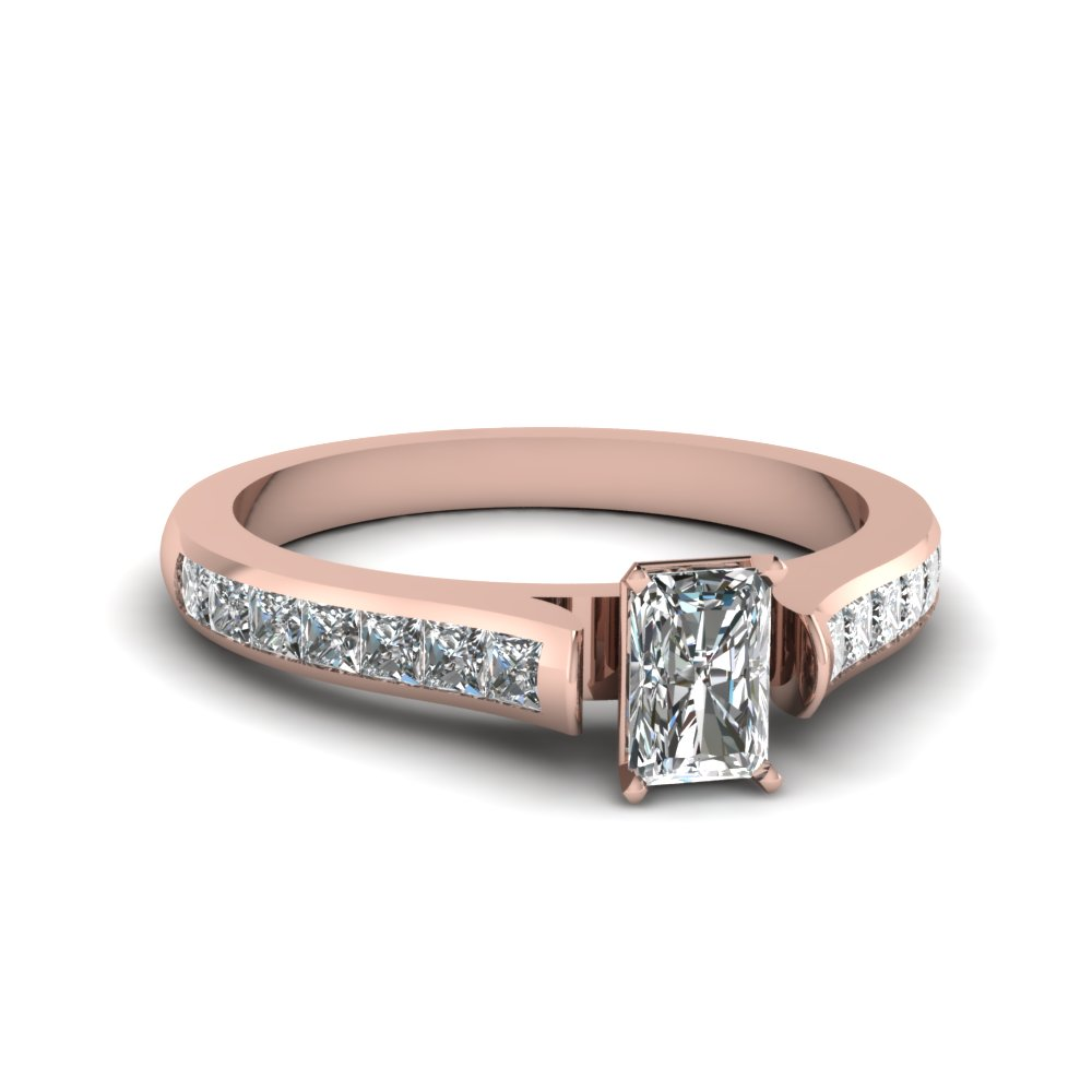 Radiant Cut Rose Gold Engagement Ring with Princess Accents