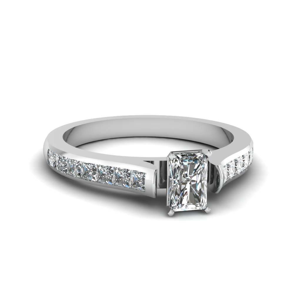 radiant cut cathedral channel set diamond engagement ring in FDENS877RAR NL WG 30