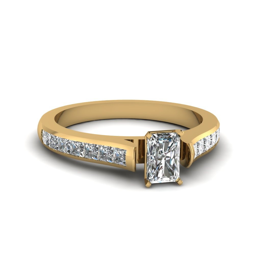 radiant cut cathedral channel set diamond engagement ring in FDENS877RAR NL YG 30