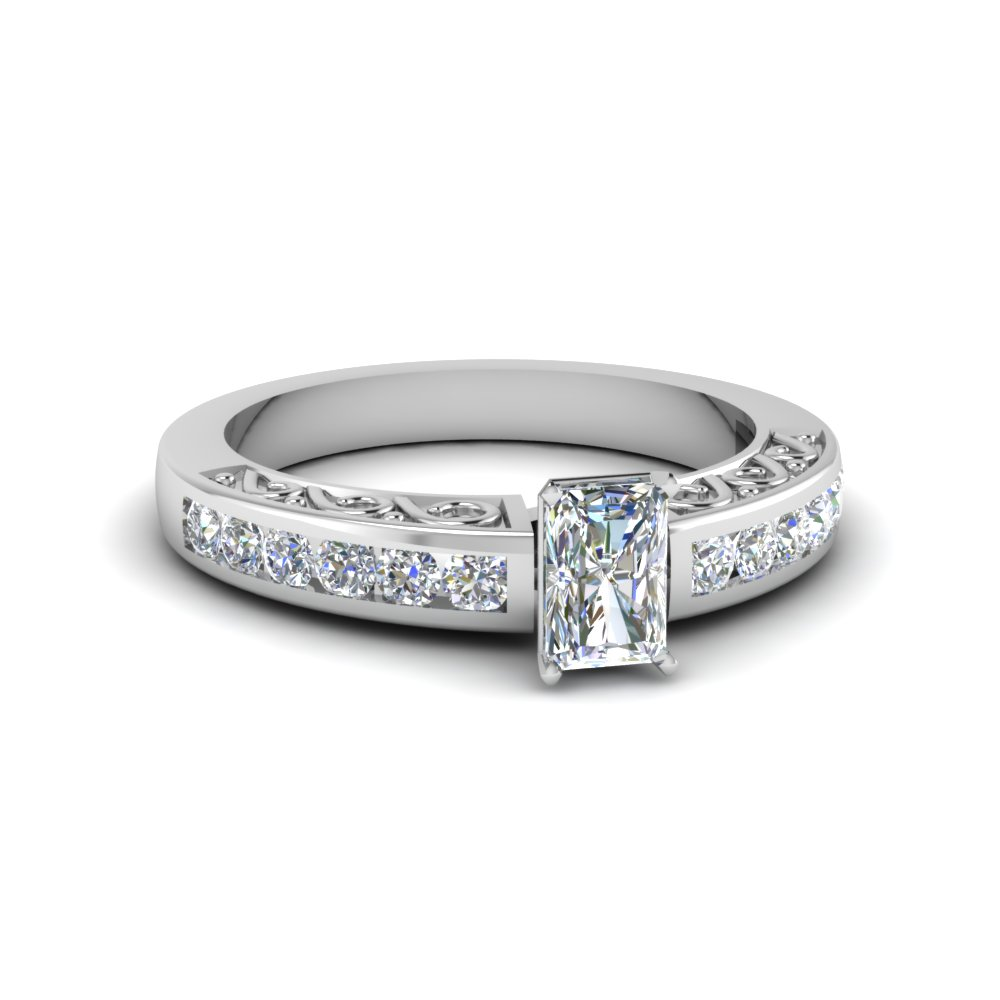 3/4 Karat Radiant Cut Diamond Wedding Rings