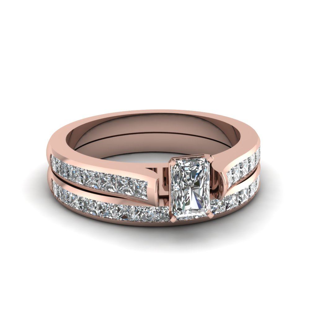 radiant cut channel set diamond wedding ring sets in 14K rose gold FDENS877RA NL RG 30