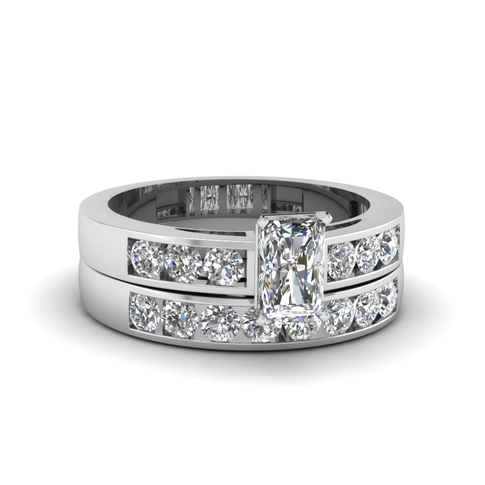 radiant cut channel set diamond wedding ring sets in 14K white gold FDENS161RA NL WG