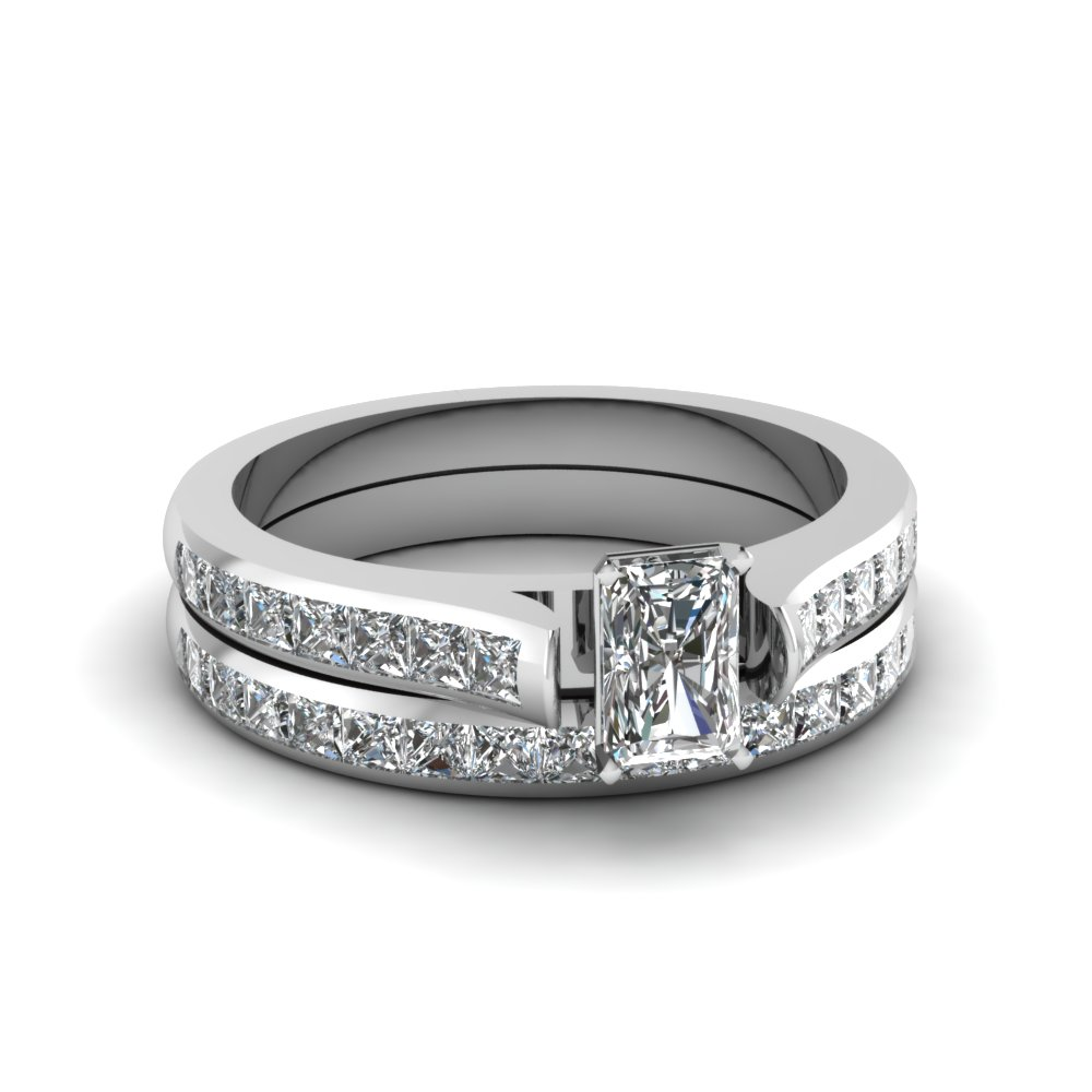 radiant cut channel set diamond wedding ring sets in 18K white gold FDENS877RA NL WG 30
