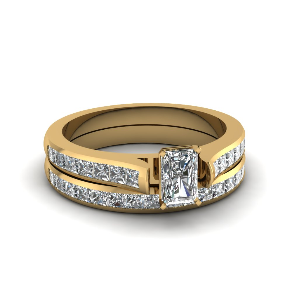 radiant cut channel set diamond wedding ring sets in 18K yellow gold FDENS877RA NL YG 30