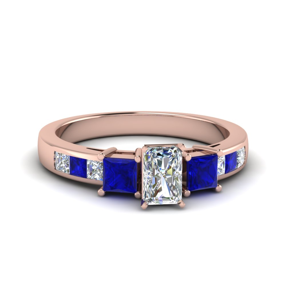 radiant cut channel three stone diamond engagement ring with sapphire in 14K rose gold FDENS205RARGSABL NL RG