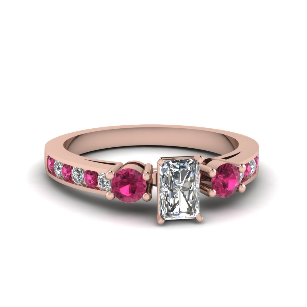 Radiant Cut Channel Three Stone Diamond Ring With Pink Sapphire In 14K Rose Gold